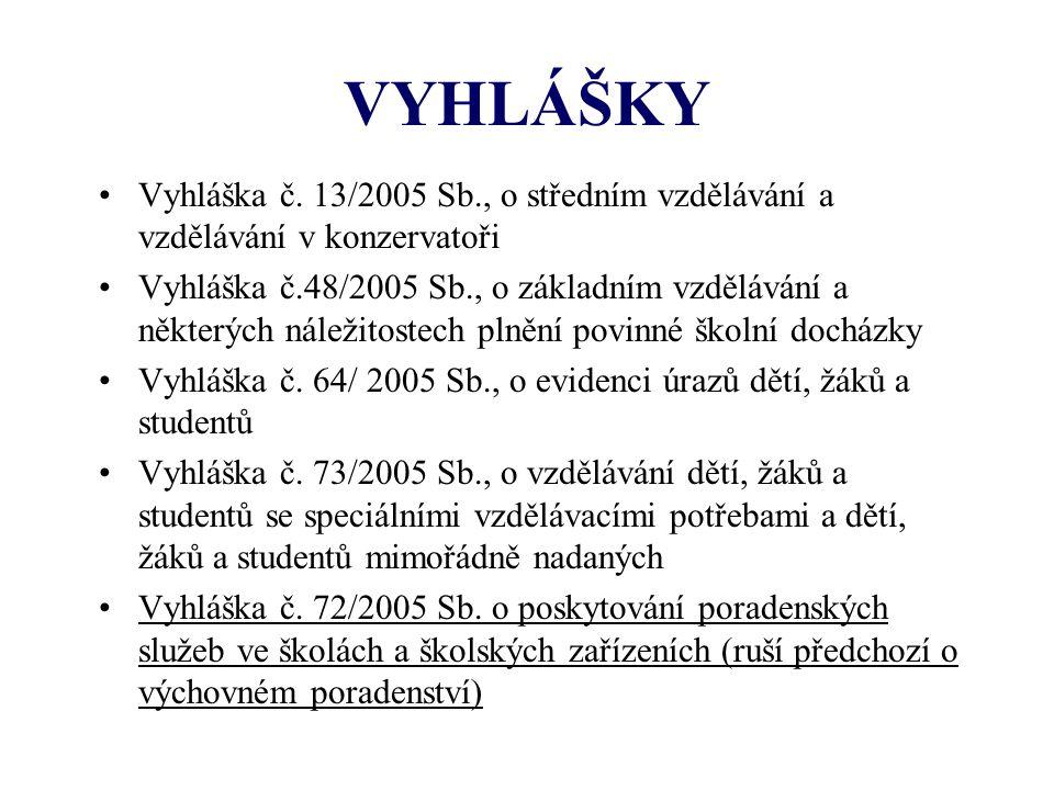 VYHLÁŠKY Vyhláška č. 13/2005 Sb., o středním vzdělávání a vzdělávání v konzervatoři Vyhláška č.48/2005 Sb., o základním vzdělávání a některých náležit