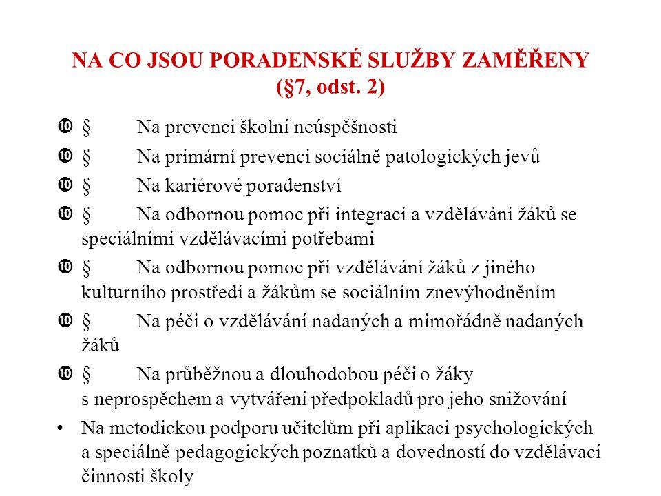 NA CO JSOU PORADENSKÉ SLUŽBY ZAMĚŘENY (§7, odst. 2)  Na prevenci školní neúspěšnosti  Na primární prevenci sociálně patologických jevů  Na karié