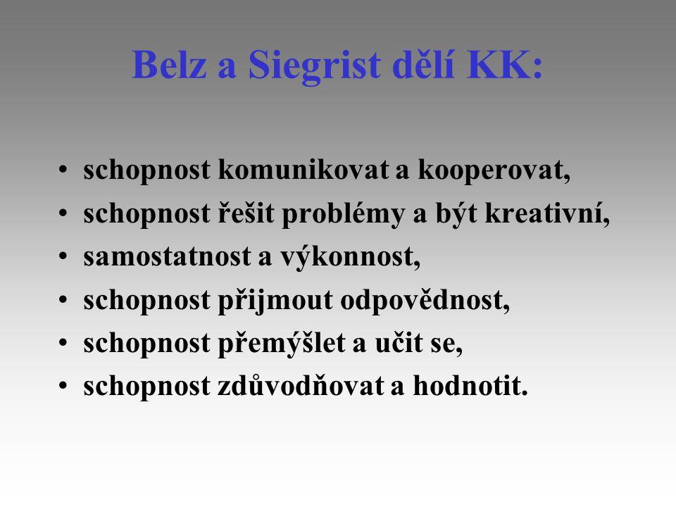 Belz a Siegrist dělí KK: schopnost komunikovat a kooperovat, schopnost řešit problémy a být kreativní, samostatnost a výkonnost, schopnost přijmout od