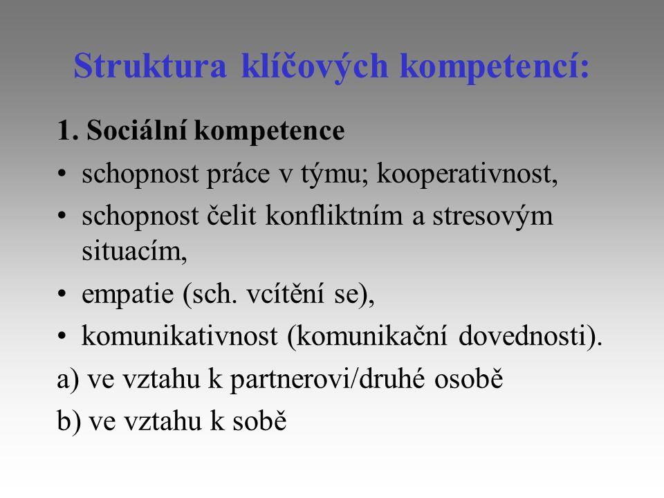 Struktura klíčových kompetencí: 1. Sociální kompetence schopnost práce v týmu; kooperativnost, schopnost čelit konfliktním a stresovým situacím, empat