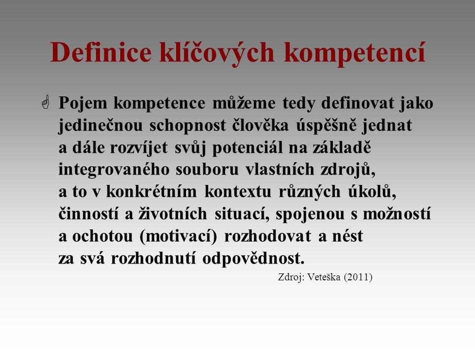 Definice klíčových kompetencí  Pojem kompetence můžeme tedy definovat jako jedinečnou schopnost člověka úspěšně jednat a dále rozvíjet svůj potenciál