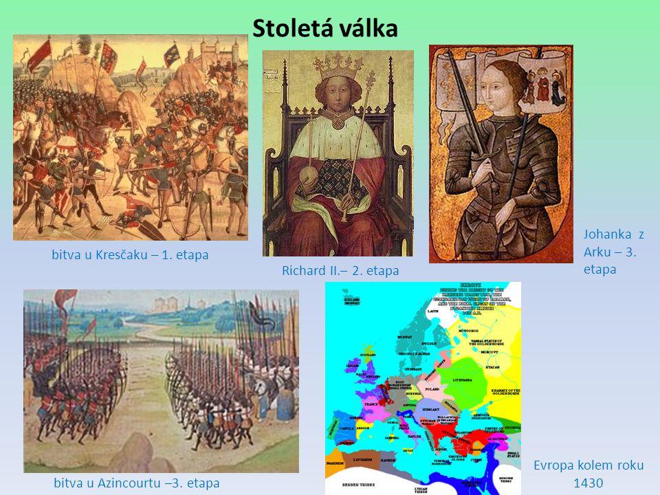 Stoletá válka Richard II.– 2. etapa Johanka z Arku – 3. etapa bitva u Azincourtu –3. etapa Evropa kolem roku 1430 bitva u Kresčaku – 1. etapa