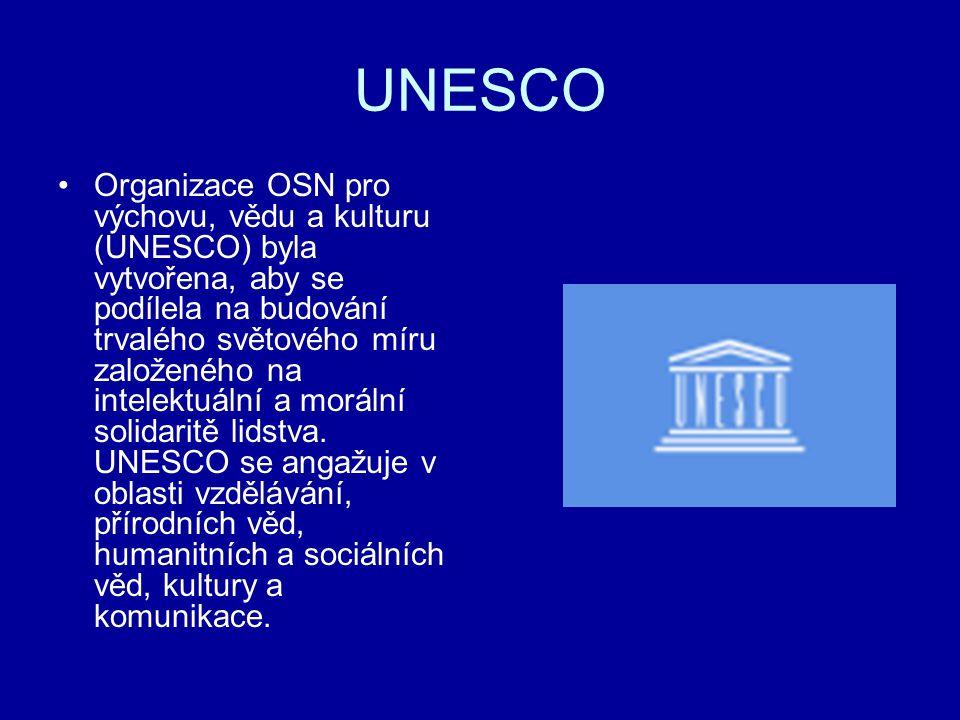 UNESCO Organizace OSN pro výchovu, vědu a kulturu (UNESCO) byla vytvořena, aby se podílela na budování trvalého světového míru založeného na intelektu