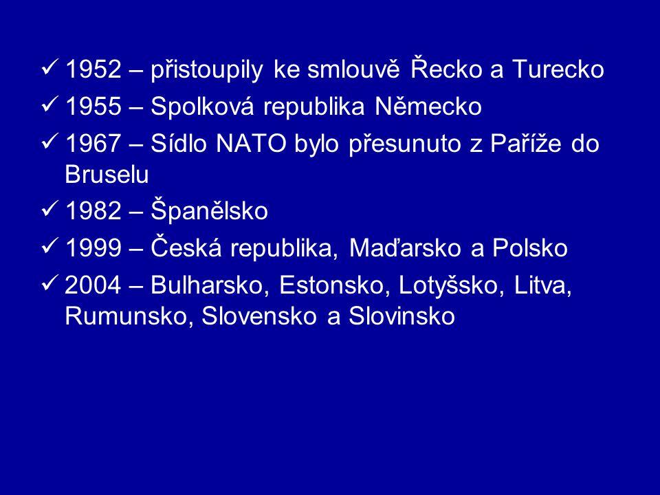 1952 – přistoupily ke smlouvě Řecko a Turecko 1955 – Spolková republika Německo 1967 – Sídlo NATO bylo přesunuto z Paříže do Bruselu 1982 – Španělsko 1999 – Česká republika, Maďarsko a Polsko 2004 – Bulharsko, Estonsko, Lotyšsko, Litva, Rumunsko, Slovensko a Slovinsko