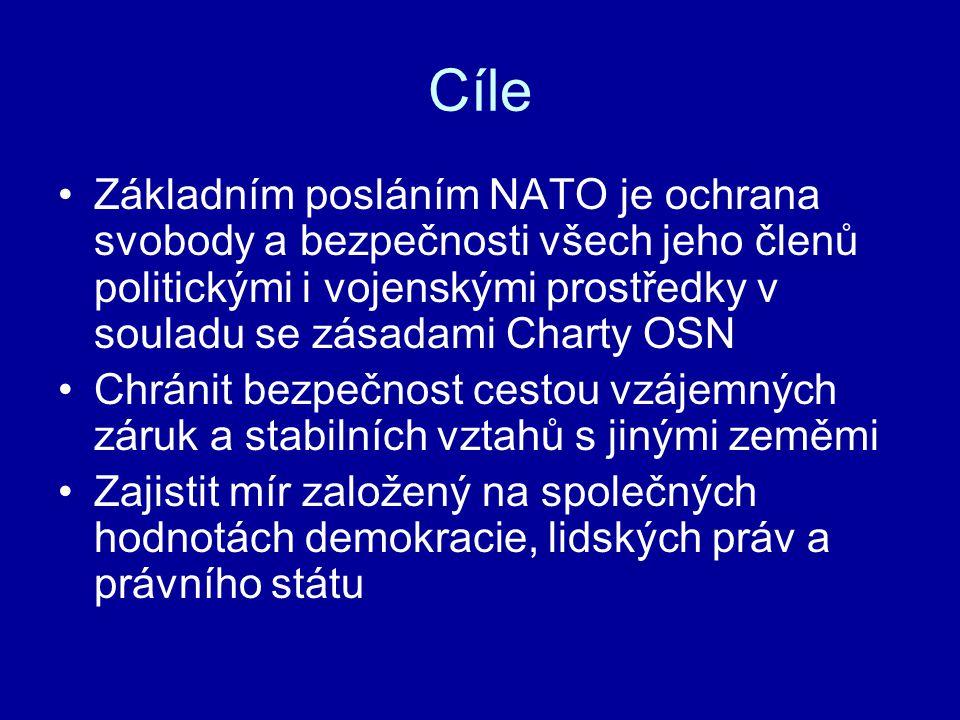 Cíle Základním posláním NATO je ochrana svobody a bezpečnosti všech jeho členů politickými i vojenskými prostředky v souladu se zásadami Charty OSN Chránit bezpečnost cestou vzájemných záruk a stabilních vztahů s jinými zeměmi Zajistit mír založený na společných hodnotách demokracie, lidských práv a právního státu