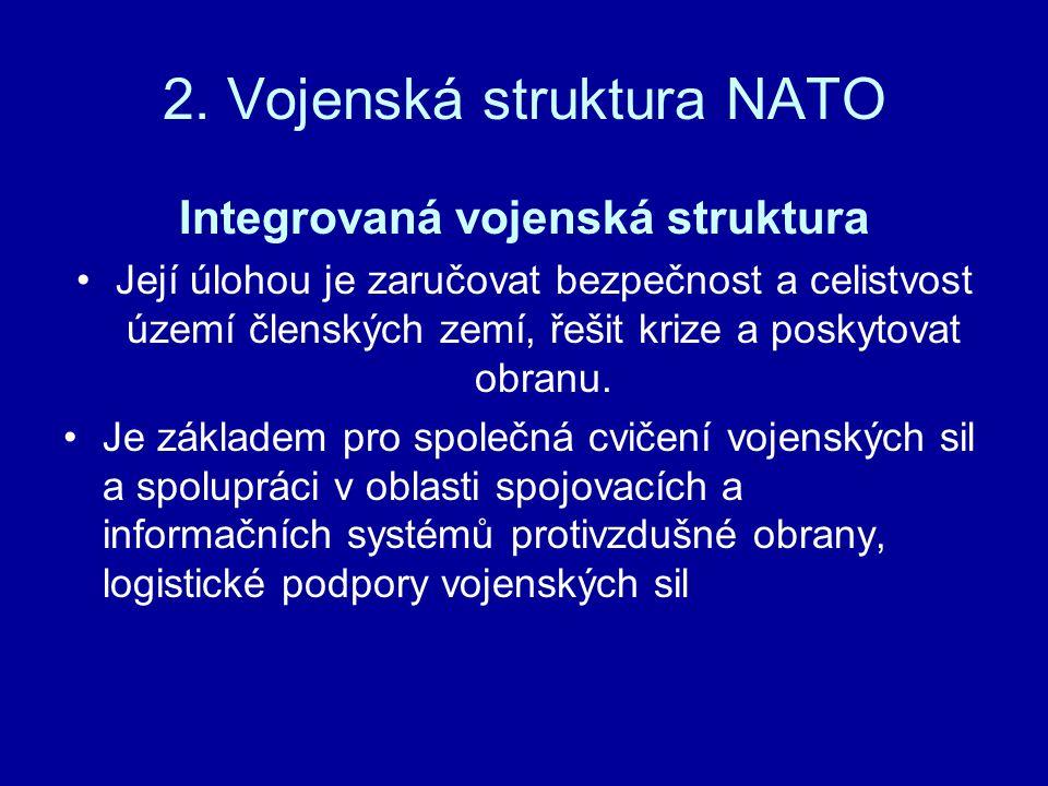 2. Vojenská struktura NATO Integrovaná vojenská struktura Její úlohou je zaručovat bezpečnost a celistvost území členských zemí, řešit krize a poskyto