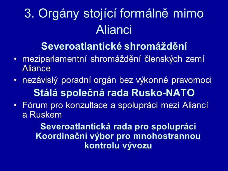 3. Orgány stojící formálně mimo Alianci Severoatlantické shromáždění meziparlamentní shromáždění členských zemí Aliance nezávislý poradní orgán bez vý