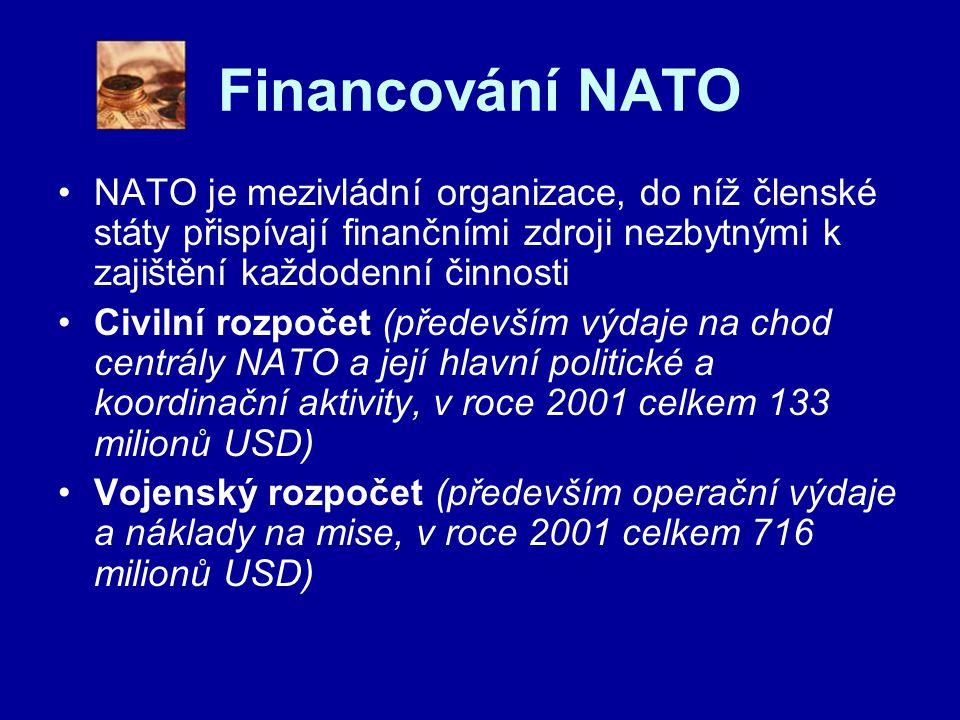 Financování NATO NATO je mezivládní organizace, do níž členské státy přispívají finančními zdroji nezbytnými k zajištění každodenní činnosti Civilní rozpočet (především výdaje na chod centrály NATO a její hlavní politické a koordinační aktivity, v roce 2001 celkem 133 milionů USD) Vojenský rozpočet (především operační výdaje a náklady na mise, v roce 2001 celkem 716 milionů USD)