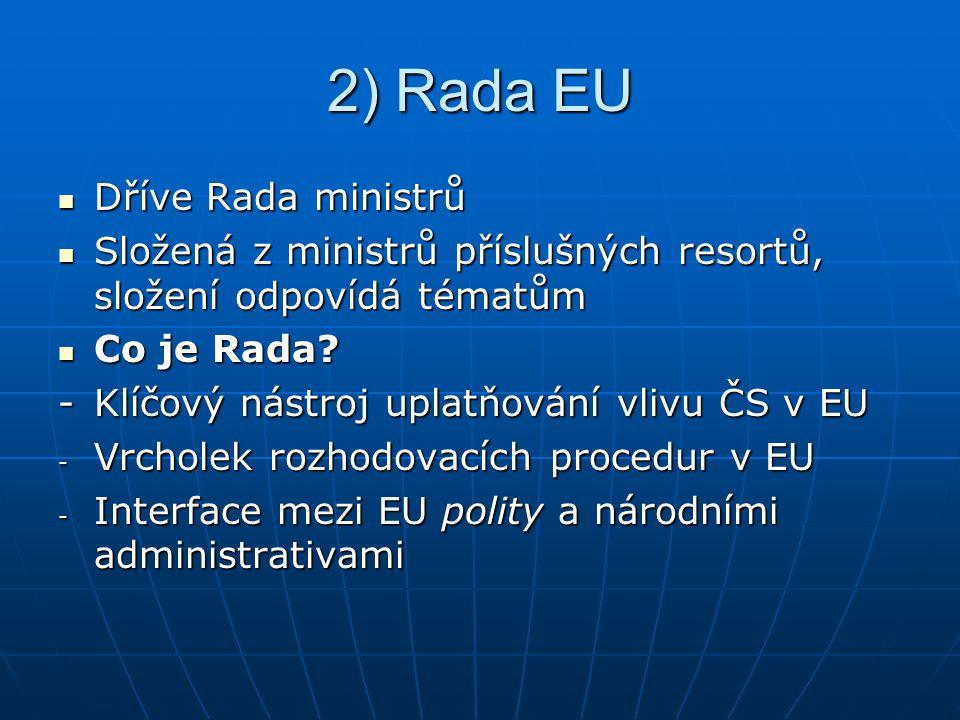 2) Rada EU Dříve Rada ministrů Dříve Rada ministrů Složená z ministrů příslušných resortů, složení odpovídá tématům Složená z ministrů příslušných resortů, složení odpovídá tématům Co je Rada.
