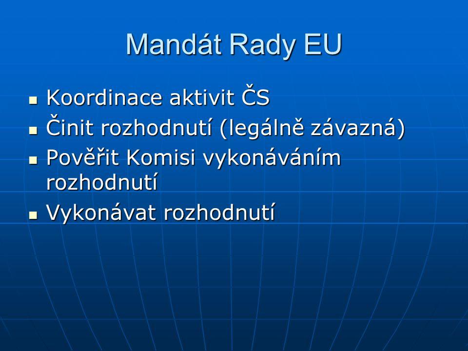 Mandát Rady EU Koordinace aktivit ČS Koordinace aktivit ČS Činit rozhodnutí (legálně závazná) Činit rozhodnutí (legálně závazná) Pověřit Komisi vykonáváním rozhodnutí Pověřit Komisi vykonáváním rozhodnutí Vykonávat rozhodnutí Vykonávat rozhodnutí