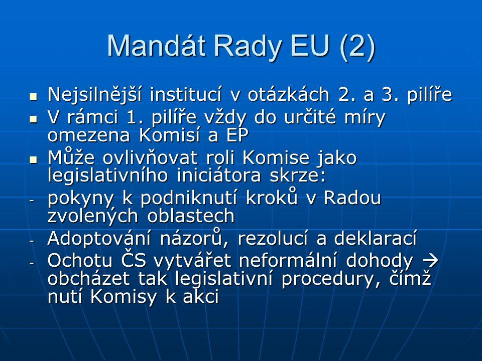 Mandát Rady EU (2) Nejsilnější institucí v otázkách 2.