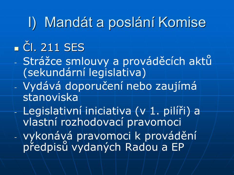 I) Mandát a poslání Komise Čl.211 SES Čl.