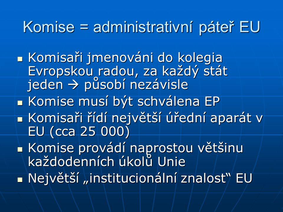 """Komise = administrativní páteř EU Komisaři jmenováni do kolegia Evropskou radou, za každý stát jeden  působí nezávisle Komisaři jmenováni do kolegia Evropskou radou, za každý stát jeden  působí nezávisle Komise musí být schválena EP Komise musí být schválena EP Komisaři řídí největší úřední aparát v EU (cca 25 000) Komisaři řídí největší úřední aparát v EU (cca 25 000) Komise provádí naprostou většinu každodenních úkolů Unie Komise provádí naprostou většinu každodenních úkolů Unie Největší """"institucionální znalost EU Největší """"institucionální znalost EU"""