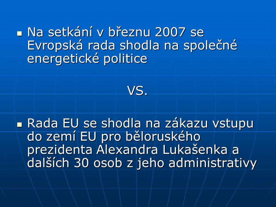 Na setkání v březnu 2007 se Evropská rada shodla na společné energetické politice Na setkání v březnu 2007 se Evropská rada shodla na společné energetické politiceVS.