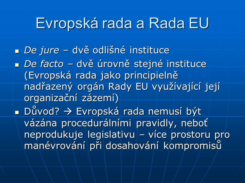 Evropská rada a Rada EU De jure – dvě odlišné instituce De jure – dvě odlišné instituce De facto – dvě úrovně stejné instituce (Evropská rada jako principielně nadřazený orgán Rady EU využívající její organizační zázemí) De facto – dvě úrovně stejné instituce (Evropská rada jako principielně nadřazený orgán Rady EU využívající její organizační zázemí) Důvod.