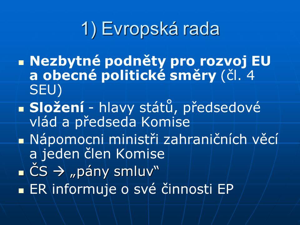 1) Evropská rada Nezbytné podněty pro rozvoj EU a obecné politické směry (čl.