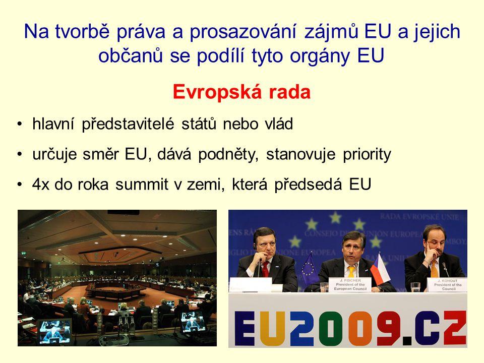 Na tvorbě práva a prosazování zájmů EU a jejich občanů se podílí tyto orgány EU Evropská rada hlavní představitelé států nebo vlád určuje směr EU, dává podněty, stanovuje priority 4x do roka summit v zemi, která předsedá EU