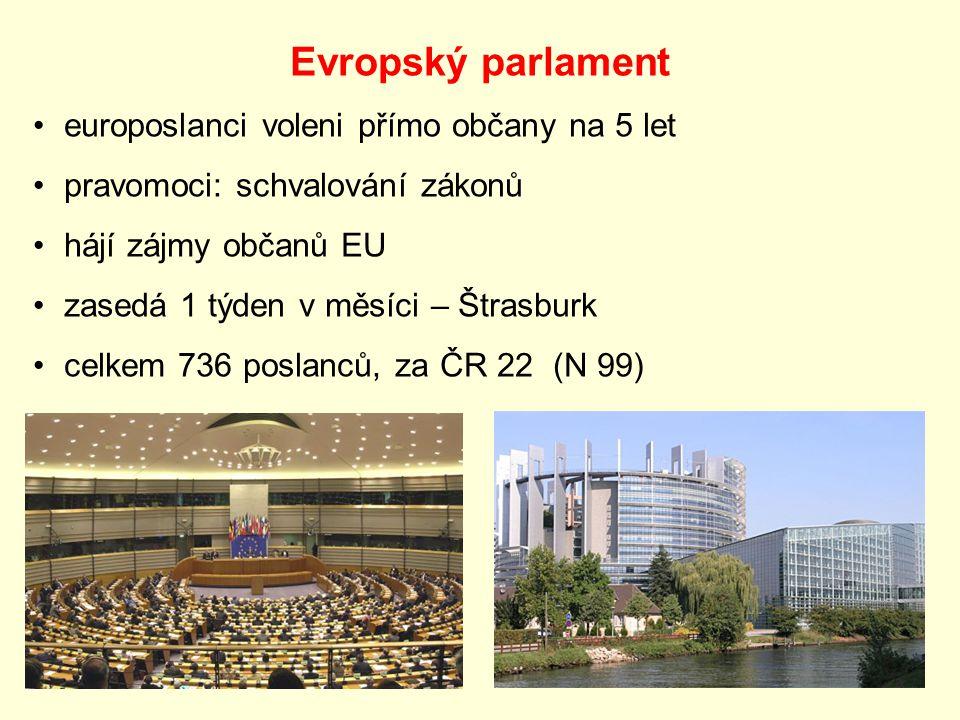 Evropský parlament europoslanci voleni přímo občany na 5 let pravomoci: schvalování zákonů hájí zájmy občanů EU zasedá 1 týden v měsíci – Štrasburk celkem 736 poslanců, za ČR 22 (N 99)