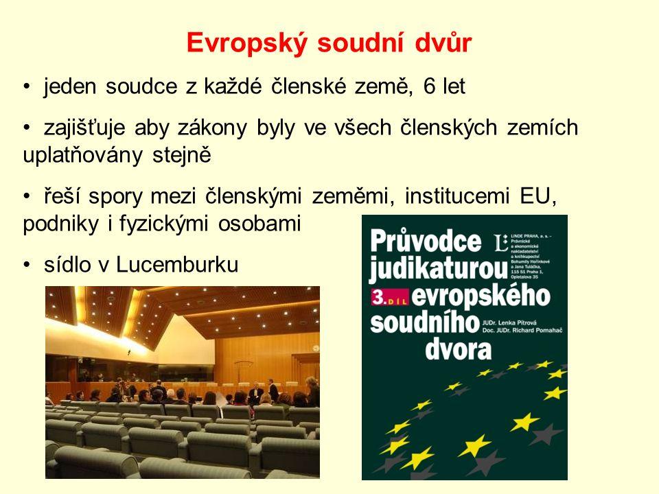 Evropský soudní dvůr jeden soudce z každé členské země, 6 let zajišťuje aby zákony byly ve všech členských zemích uplatňovány stejně řeší spory mezi členskými zeměmi, institucemi EU, podniky i fyzickými osobami sídlo v Lucemburku