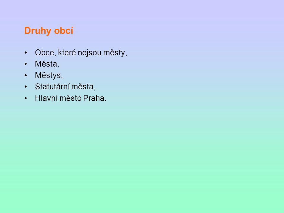 Druhy obcí Obce, které nejsou městy, Města, Městys, Statutární města, Hlavní město Praha.