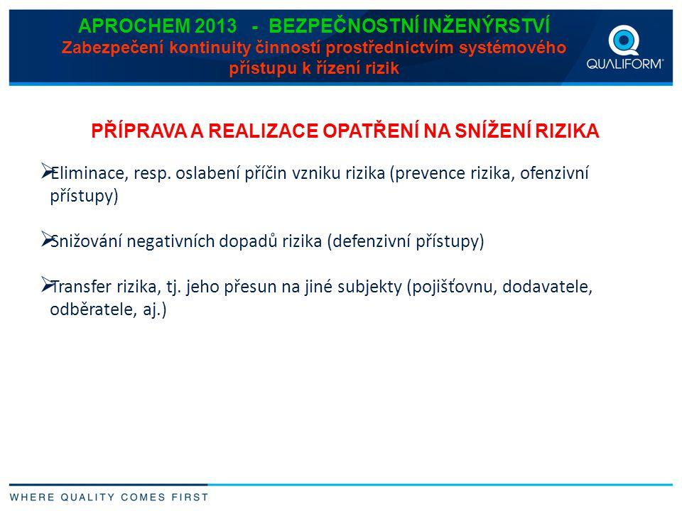 APROCHEM 2013 - BEZPEČNOSTNÍ INŽENÝRSTVÍ Zabezpečení kontinuity činností prostřednictvím systémového přístupu k řízení rizik PŘÍPRAVA A REALIZACE OPAT