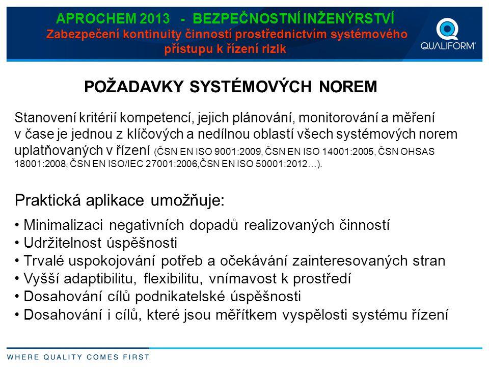 APROCHEM 2013 - BEZPEČNOSTNÍ INŽENÝRSTVÍ Zabezpečení kontinuity činností prostřednictvím systémového přístupu k řízení rizik Stanovení kritérií kompet