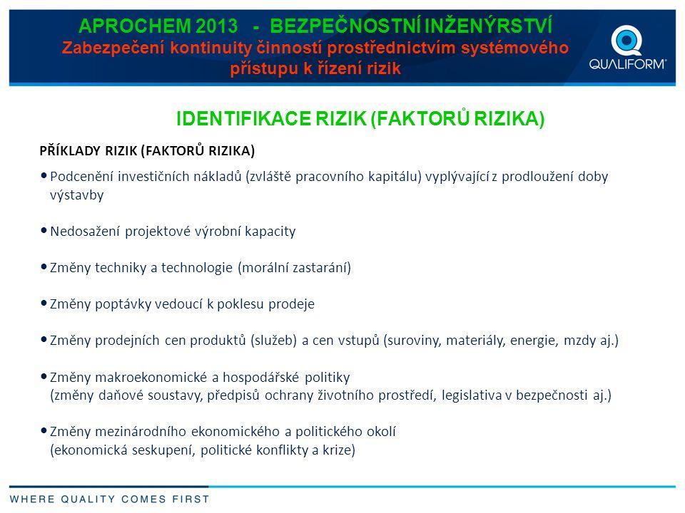 APROCHEM 2013 - BEZPEČNOSTNÍ INŽENÝRSTVÍ Zabezpečení kontinuity činností prostřednictvím systémového přístupu k řízení rizik IDENTIFIKACE RIZIK (FAKTO