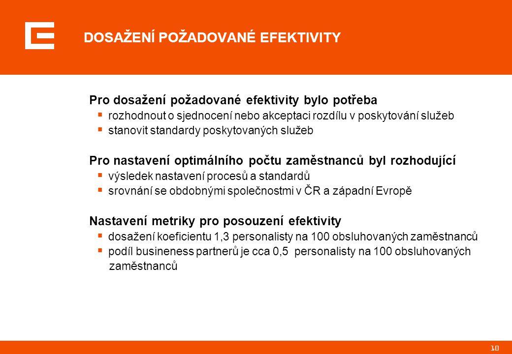 10 DOSAŽENÍ POŽADOVANÉ EFEKTIVITY Pro dosažení požadované efektivity bylo potřeba  rozhodnout o sjednocení nebo akceptaci rozdílu v poskytování služeb  stanovit standardy poskytovaných služeb Pro nastavení optimálního počtu zaměstnanců byl rozhodující  výsledek nastavení procesů a standardů  srovnání se obdobnými společnostmi v ČR a západní Evropě Nastavení metriky pro posouzení efektivity  dosažení koeficientu 1,3 personalisty na 100 obsluhovaných zaměstnanců  podíl busineness partnerů je cca 0,5 personalisty na 100 obsluhovaných zaměstnanců
