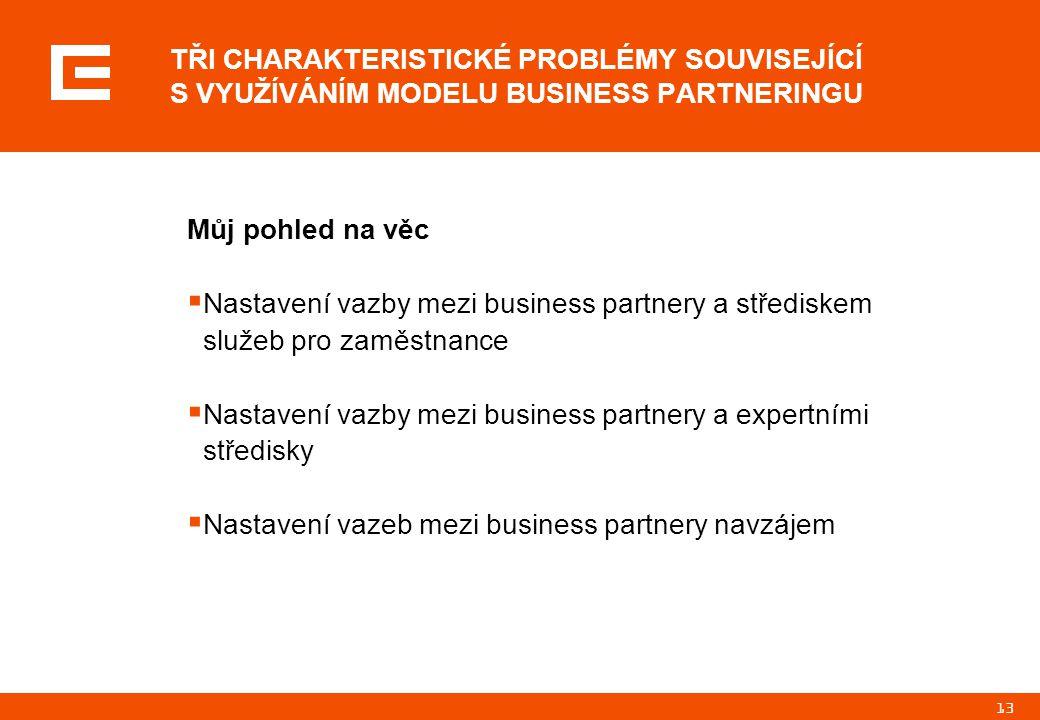 13 Můj pohled na věc  Nastavení vazby mezi business partnery a střediskem služeb pro zaměstnance  Nastavení vazby mezi business partnery a expertními středisky  Nastavení vazeb mezi business partnery navzájem TŘI CHARAKTERISTICKÉ PROBLÉMY SOUVISEJÍCÍ S VYUŽÍVÁNÍM MODELU BUSINESS PARTNERINGU