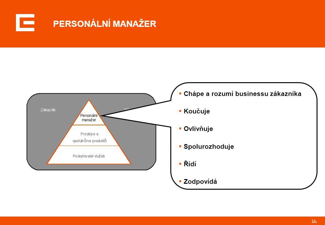 16  Chápe a rozumí businessu zákazníka  Koučuje  Ovlivňuje  Spolurozhoduje  Řídí  Zodpovídá PERSONÁLNÍ MANAŽER