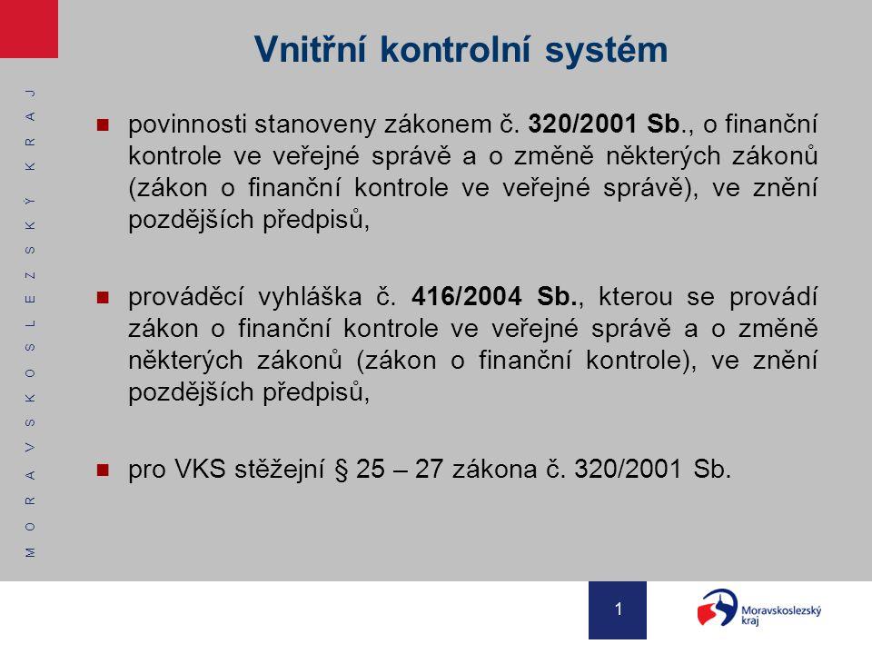 M O R A V S K O S L E Z S K Ý K R A J 12 Vnitřní kontrolní systém (postupy) by měl být nastaven do nejrizikovějších oblastí z pohledu zákona o finanční kontrole, které uvádí § 25 odst.