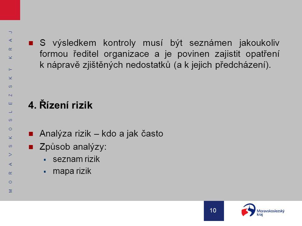 M O R A V S K O S L E Z S K Ý K R A J 10 S výsledkem kontroly musí být seznámen jakoukoliv formou ředitel organizace a je povinen zajistit opatření k