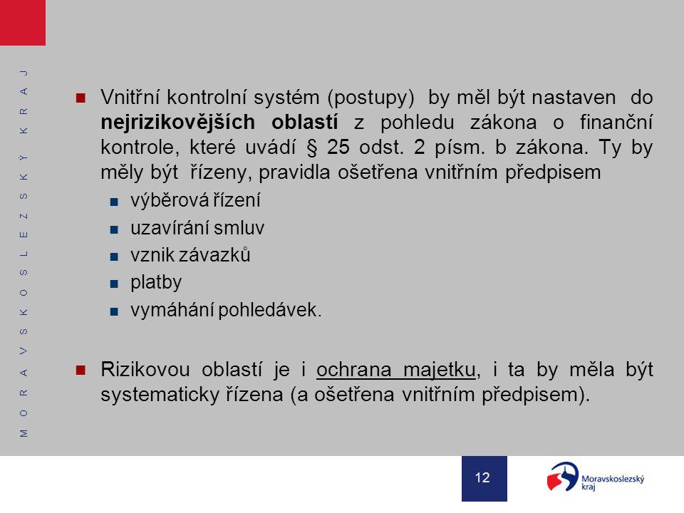 M O R A V S K O S L E Z S K Ý K R A J 12 Vnitřní kontrolní systém (postupy) by měl být nastaven do nejrizikovějších oblastí z pohledu zákona o finančn