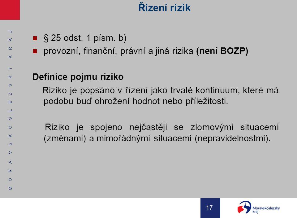M O R A V S K O S L E Z S K Ý K R A J 17 Řízení rizik § 25 odst. 1 písm. b) provozní, finanční, právní a jiná rizika (není BOZP) Definice pojmu riziko