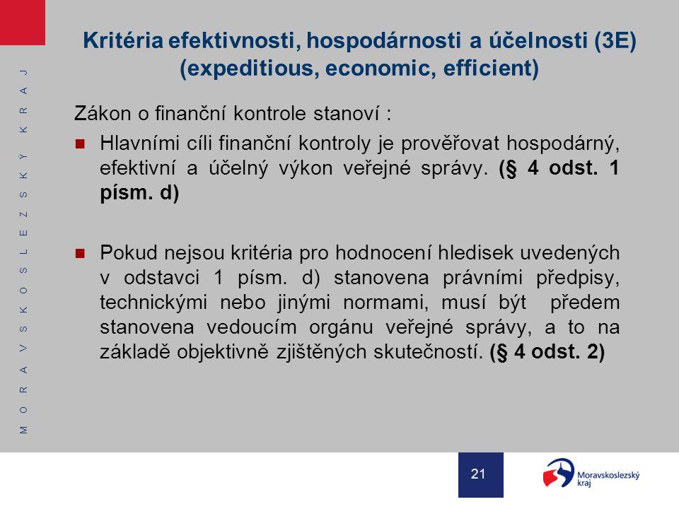 M O R A V S K O S L E Z S K Ý K R A J 21 Kritéria efektivnosti, hospodárnosti a účelnosti (3E) (expeditious, economic, efficient) Zákon o finanční kon
