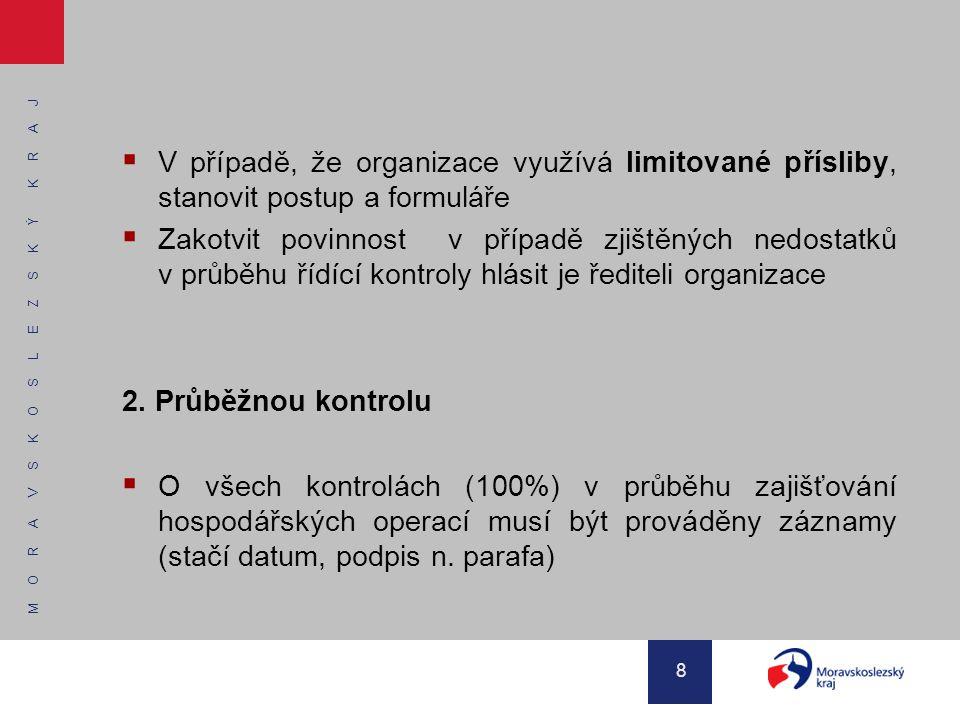 M O R A V S K O S L E Z S K Ý K R A J 8  V případě, že organizace využívá limitované přísliby, stanovit postup a formuláře  Zakotvit povinnost v pří