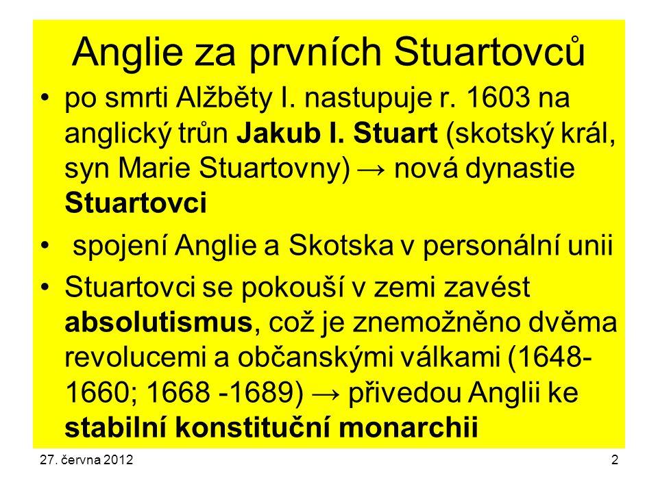 Anglie za prvních Stuartovců po smrti Alžběty I. nastupuje r. 1603 na anglický trůn Jakub I. Stuart (skotský král, syn Marie Stuartovny) → nová dynast