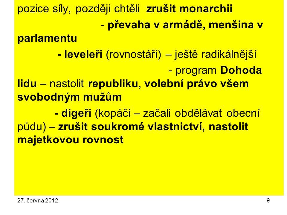 27. června 20129 pozice síly, později chtěli zrušit monarchii - převaha v armádě, menšina v parlamentu - leveleři (rovnostáři) – ještě radikálnější -