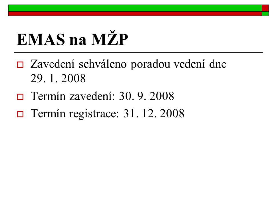 EMAS na MŽP  Zavedení schváleno poradou vedení dne 29.