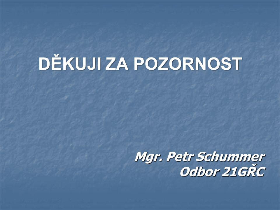 DĚKUJI ZA POZORNOST Mgr. Petr Schummer Odbor 21GŘC
