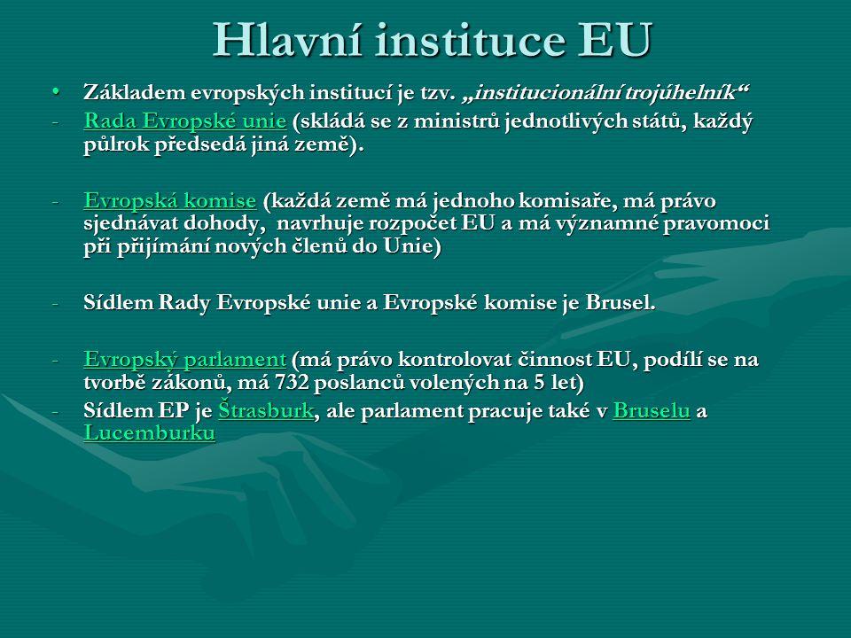 Další instituce Evropská rada - se schází přibližně třikrát do roka, skládá se z hlav států a předsedů vlád členských států EU, ministrů zahraničí a představitelůEvropská rada - se schází přibližně třikrát do roka, skládá se z hlav států a předsedů vlád členských států EU, ministrů zahraničí a představitelů Evropské komise Evropské komise Evropský soudní dvůr – LucemburkEvropský soudní dvůr – Lucemburk Účetní dvůr – LucemburkÚčetní dvůr – Lucemburk Evropská investiční banka – LucemburkEvropská investiční banka – Lucemburk Evropský investiční fond – LucemburkEvropský investiční fond – Lucemburk Evropský ombudsman - ŠtrasburkEvropský ombudsman - Štrasburk Evropská centrální banka – Frankfurt n.