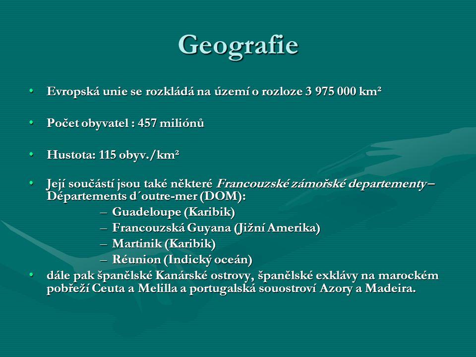Geografie Evropská unie se rozkládá na území o rozloze 3 975 000 km²Evropská unie se rozkládá na území o rozloze 3 975 000 km² Počet obyvatel : 457 mi