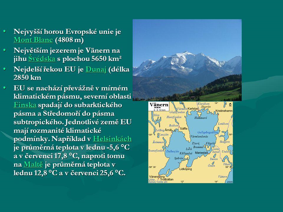 Nejvyšší horou Evropské unie je MMMM oooo nnnn tttt B B B B llll aaaa nnnn cccc (4808 m) Největším jezerem je Vänern na jihu Š Š Š Š Š vvvv éééé dddd