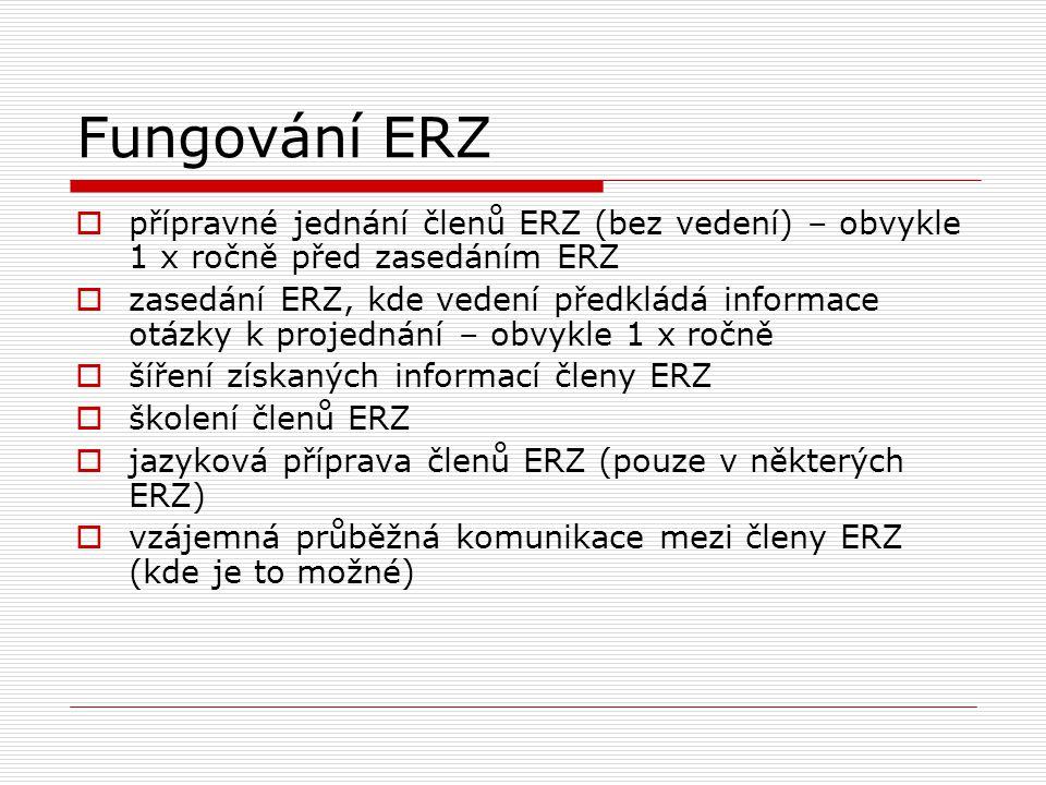 Fungování ERZ  přípravné jednání členů ERZ (bez vedení) – obvykle 1 x ročně před zasedáním ERZ  zasedání ERZ, kde vedení předkládá informace otázky
