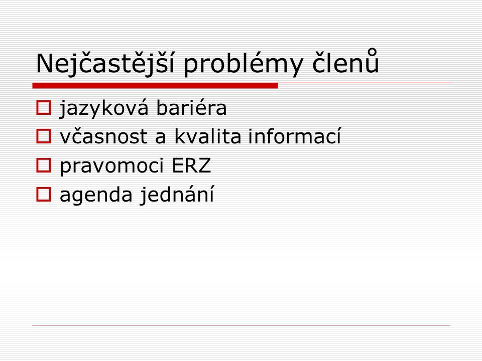 Nejčastější problémy členů  jazyková bariéra  včasnost a kvalita informací  pravomoci ERZ  agenda jednání