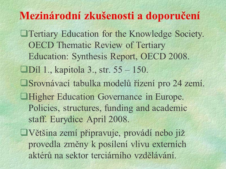 Cíle reformy řízení v terciárním sektoru vzdělávání?