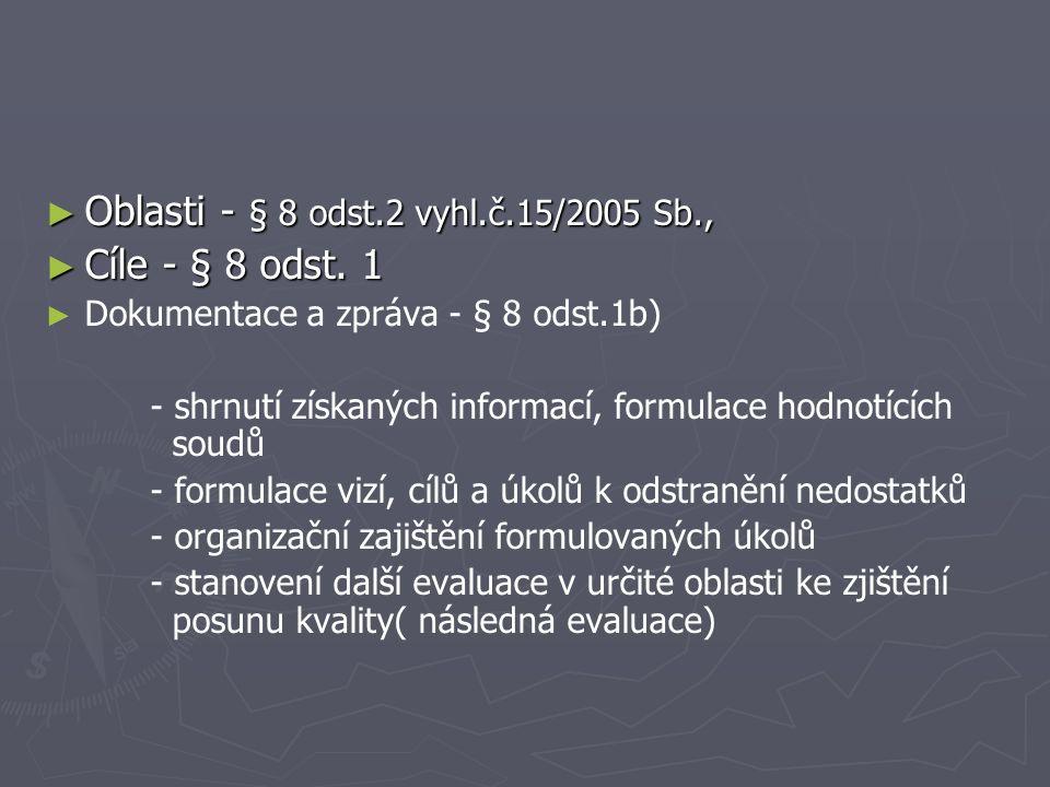 ► Oblasti - § 8 odst.2 vyhl.č.15/2005 Sb., ► Cíle - § 8 odst.