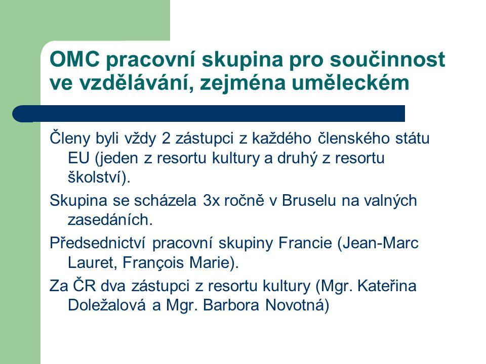 OMC pracovní skupina pro součinnost ve vzdělávání, zejména uměleckém Členy byli vždy 2 zástupci z každého členského státu EU (jeden z resortu kultury a druhý z resortu školství).