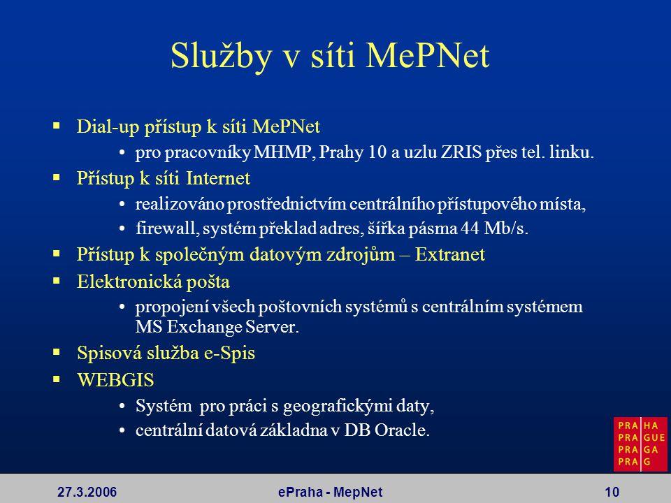 27.3.2006ePraha - MepNet10 Služby v síti MePNet  Dial-up přístup k síti MePNet pro pracovníky MHMP, Prahy 10 a uzlu ZRIS přes tel. linku.  Přístup k