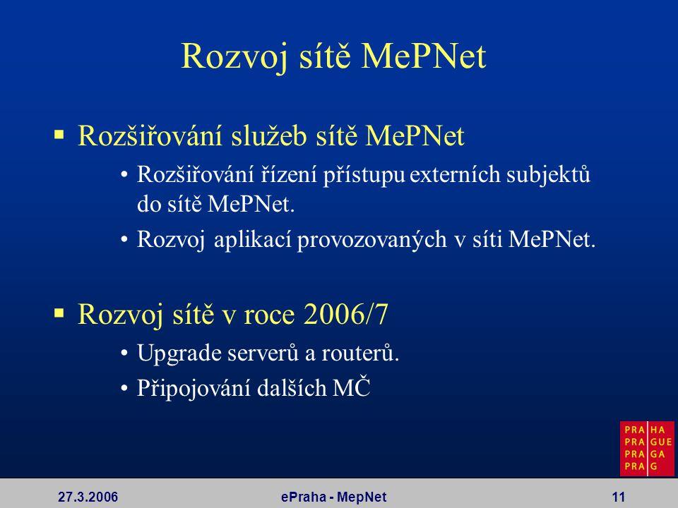 27.3.2006ePraha - MepNet11 Rozvoj sítě MePNet  Rozšiřování služeb sítě MePNet Rozšiřování řízení přístupu externích subjektů do sítě MePNet. Rozvoj a